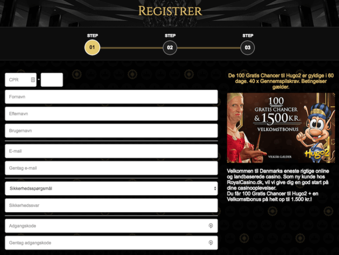 Royal casino registrer